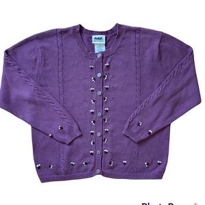 Northern Reflections Embroidered Floral Purple Cardigan Large